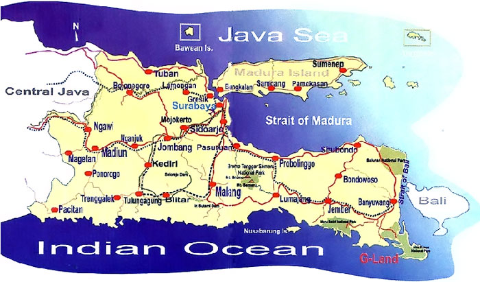 Welcome to east java marine and beaches location map east java map gumiabroncs Gallery