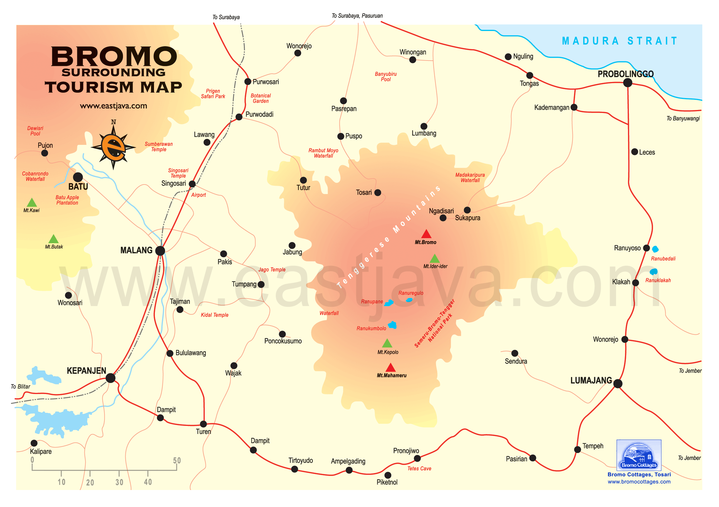 Map of Bromo Area Bromo Mountain Tourism Bromo Map