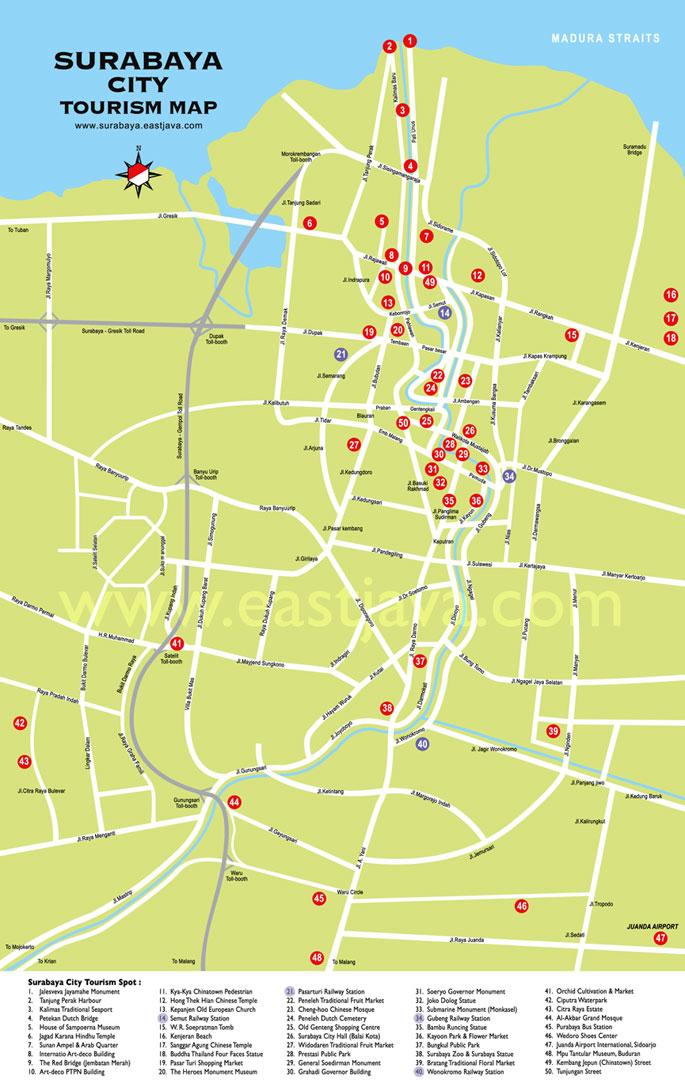 Peta Kota Surabaya Download Disini Resolusi Besar Gambar Pulau Jawa