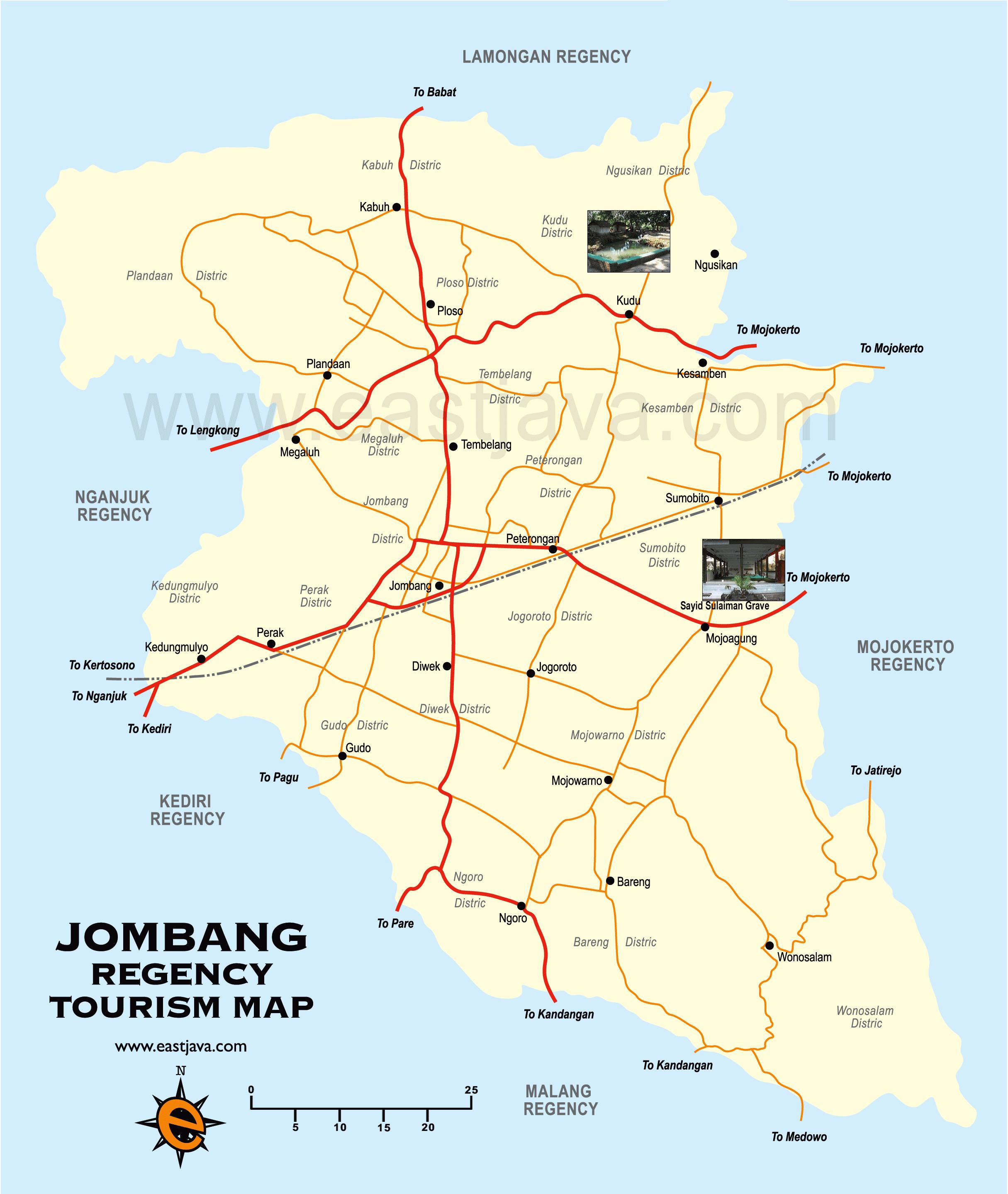 Jombang Tourism Map Peta Kabupaten Jombang