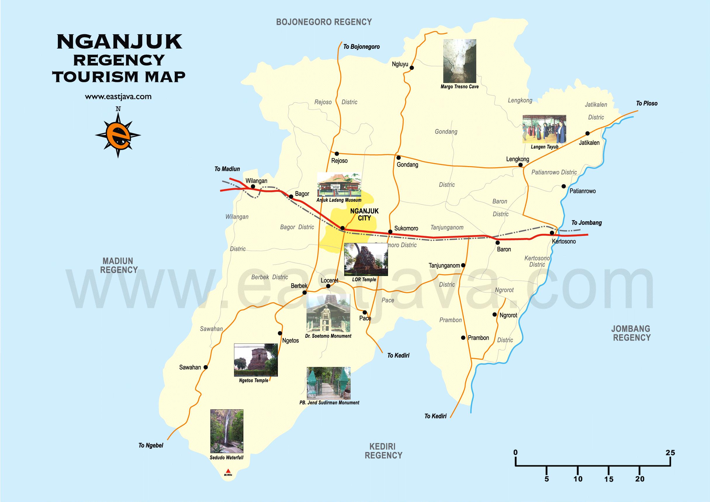 Nganjuk Map Map Of Nganjuk Peta Nganjuk Tourism Map Of Nganjuk
