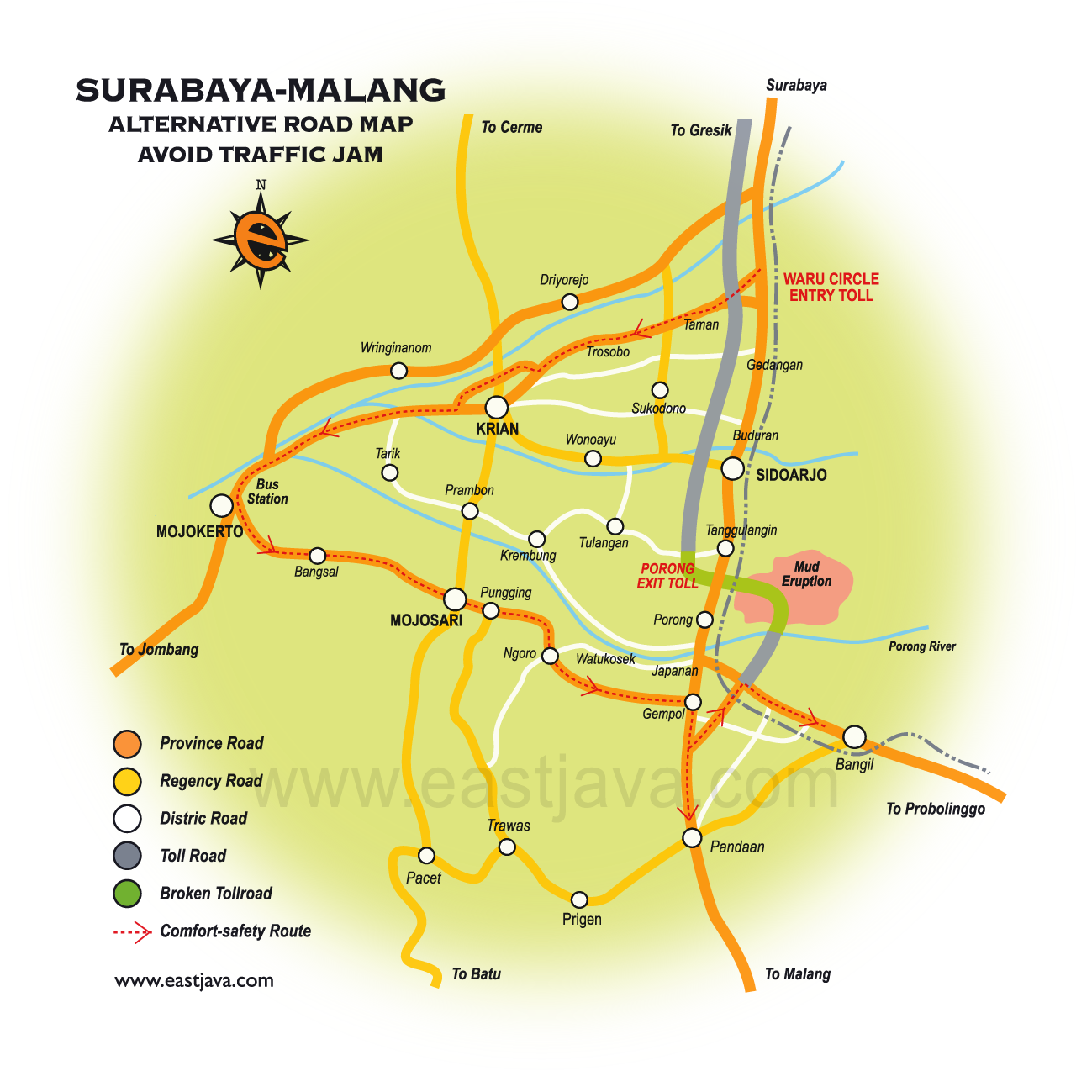 The Alternatif Traffic Map from Surabaya to Malang or Banyuwangi