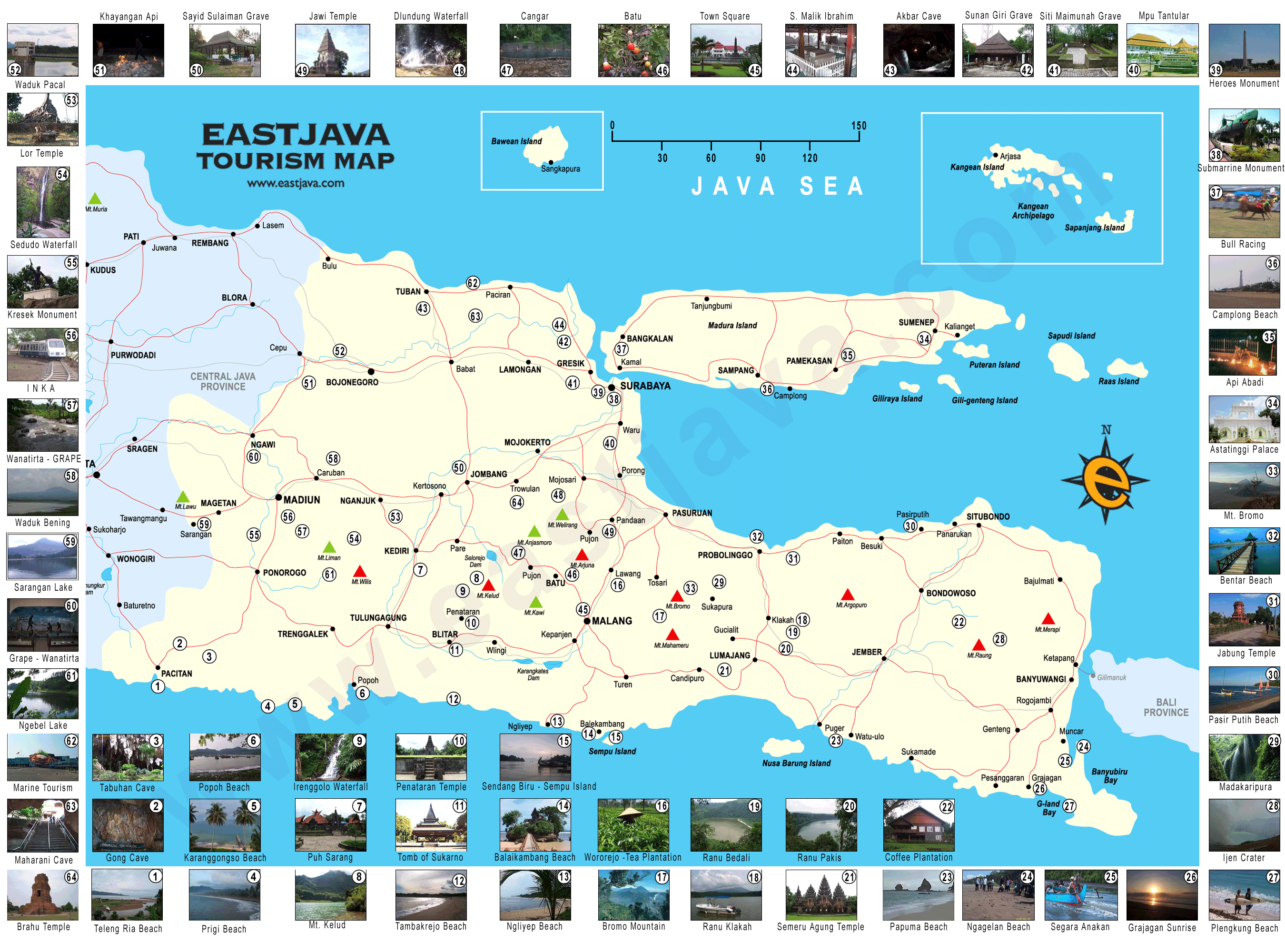 Map of East Java Peta Jawa Timur East Java Tourism Map