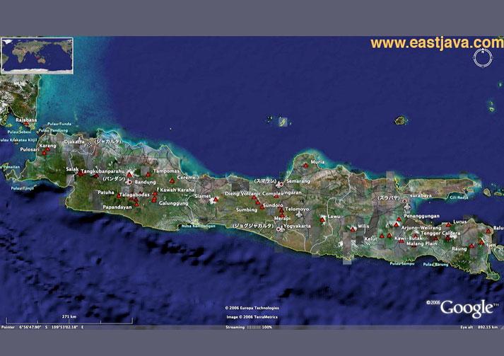 Map of East Java - Peta Jawa Timur - East Java Tourism Map