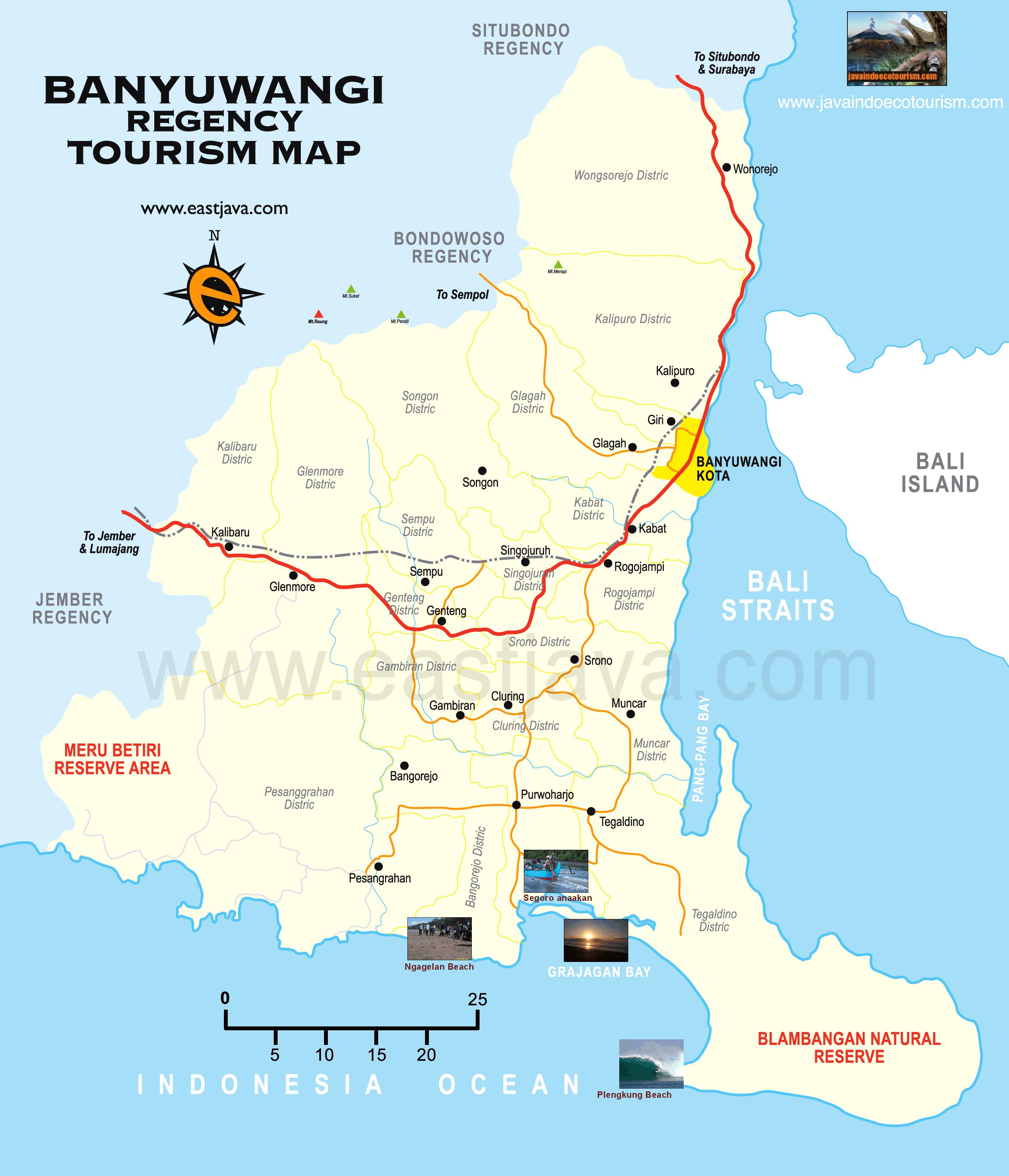banyuwangi tourism map  map of banyuwangi east java - banyuwangi tourism map