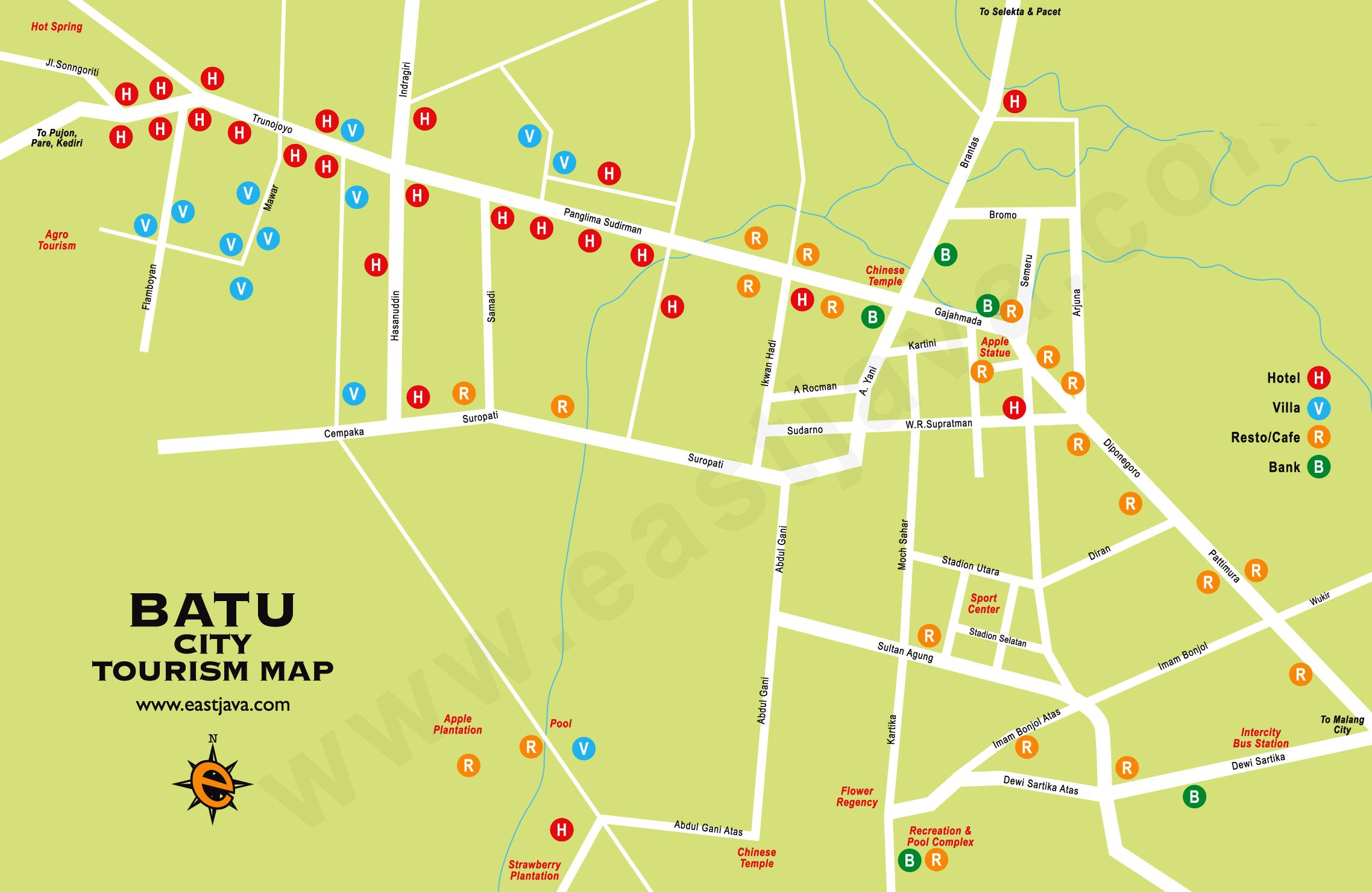 Peta Kota Batu - Peta Wisata Batu, Jawa Timur