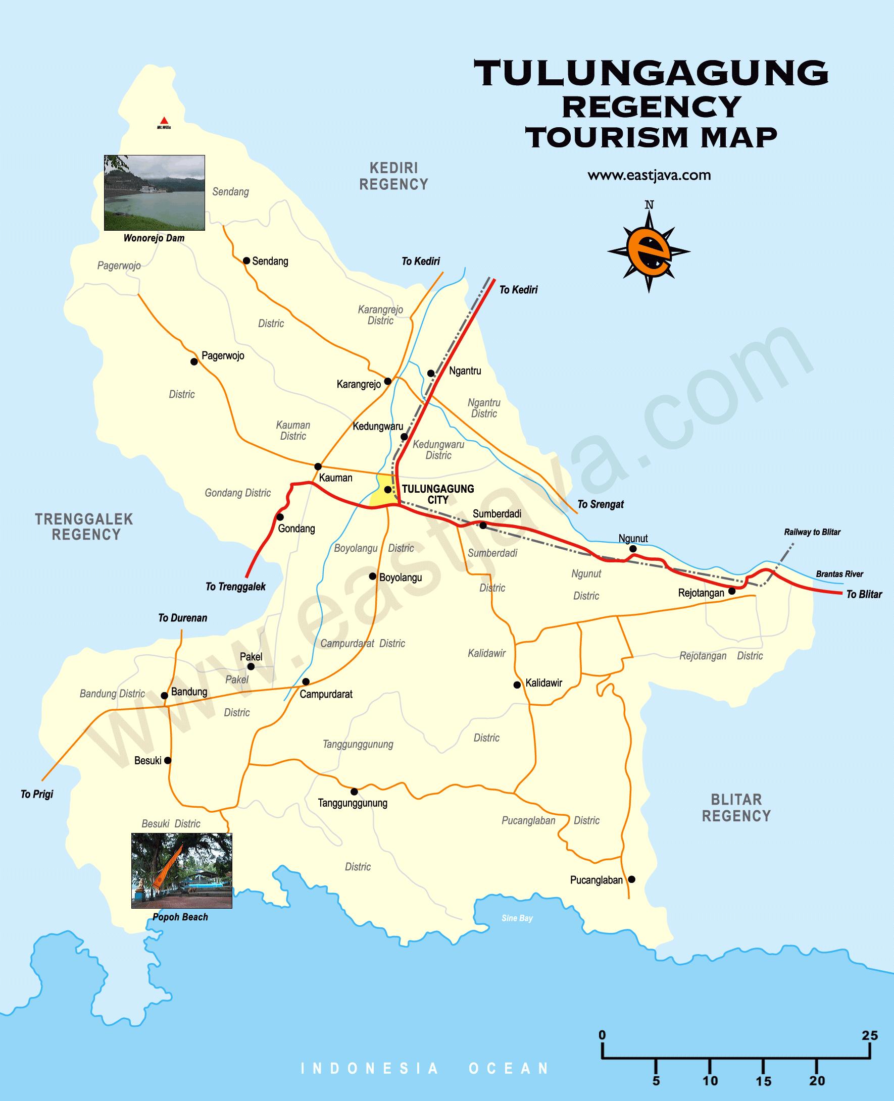 Peta Kabupaten Dan Kota Tulungagung - Peta Wisata Tulungagung
